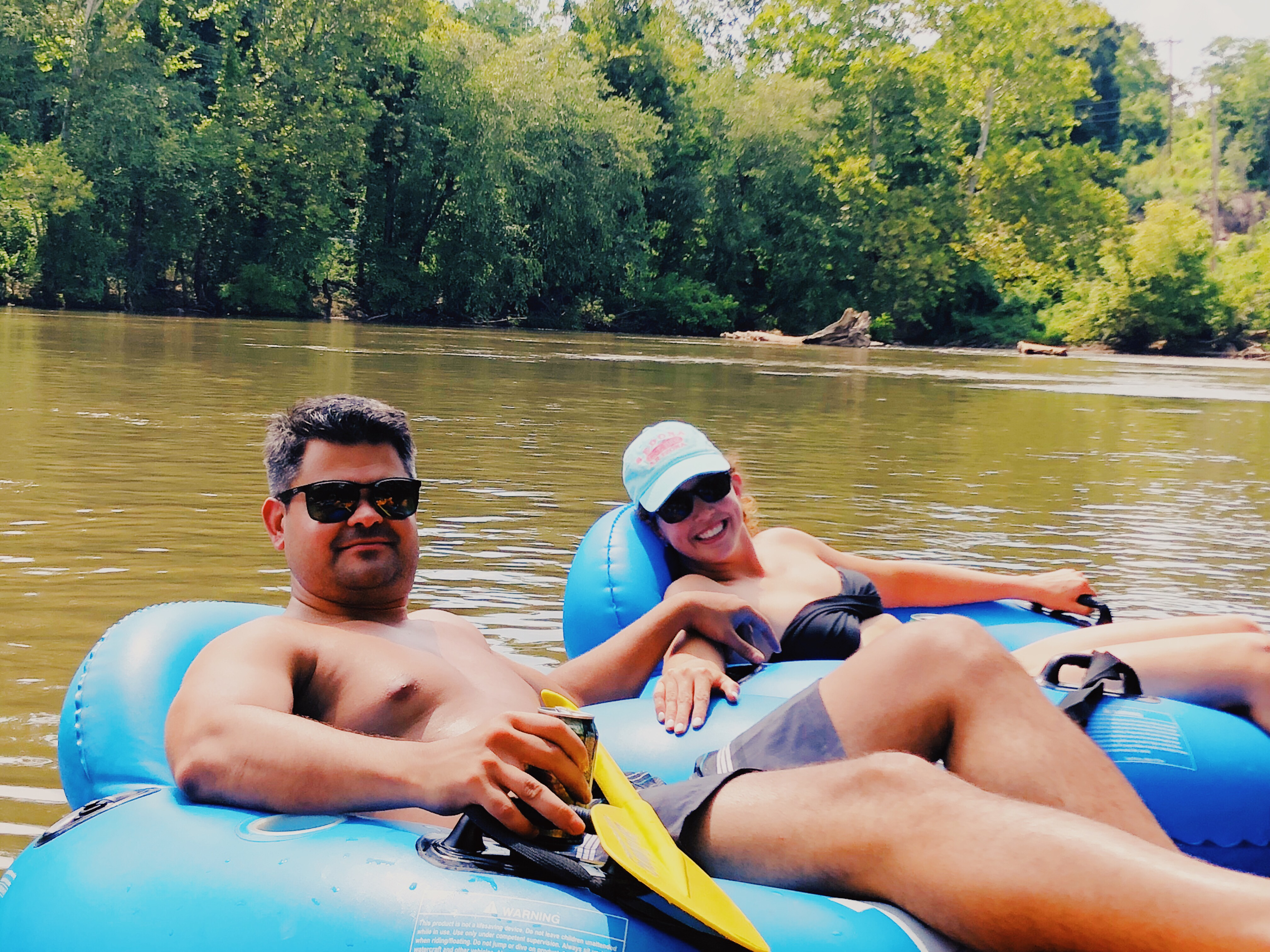 summer tubing on the French Broad River
