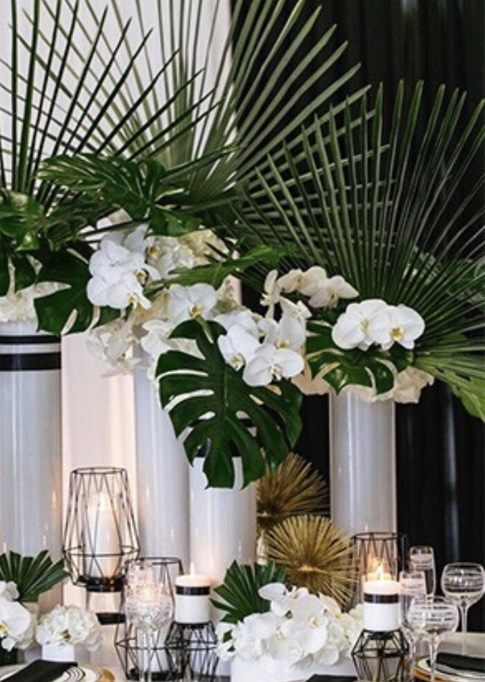 tropical palm wedding decor