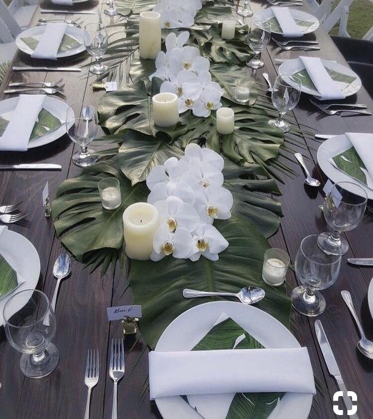 monstera palm wedding decor