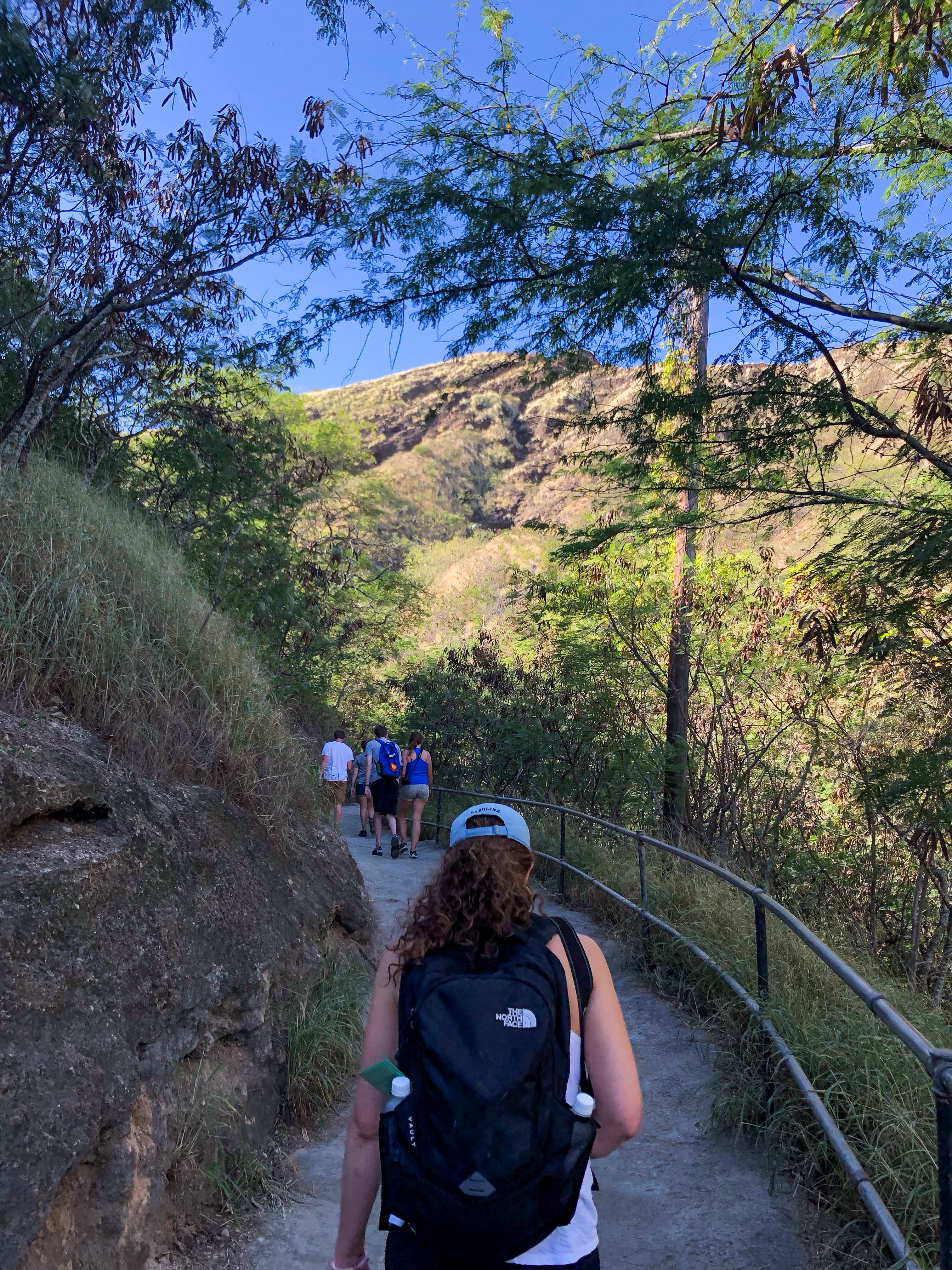 hiking to the top of diamond head