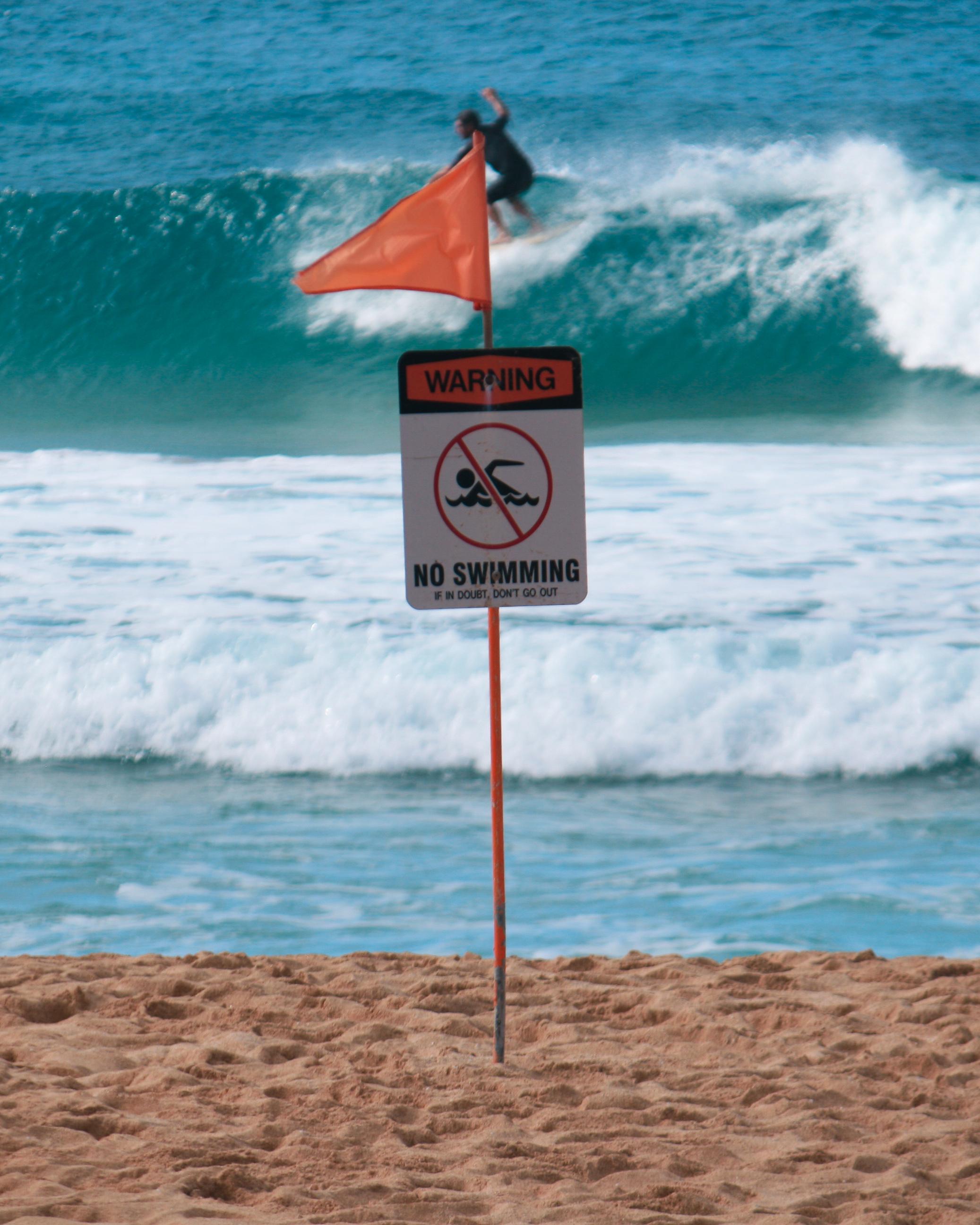 Warning No Swimming North Shore Oahu Hawaii