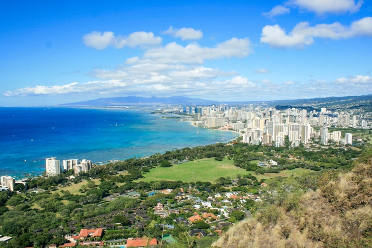 Honolulu skyline view from the top of diamond head