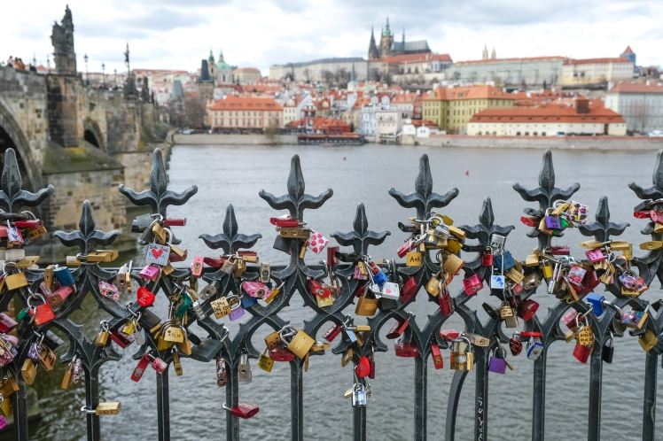 Locks at Vltava River Charles Bridge