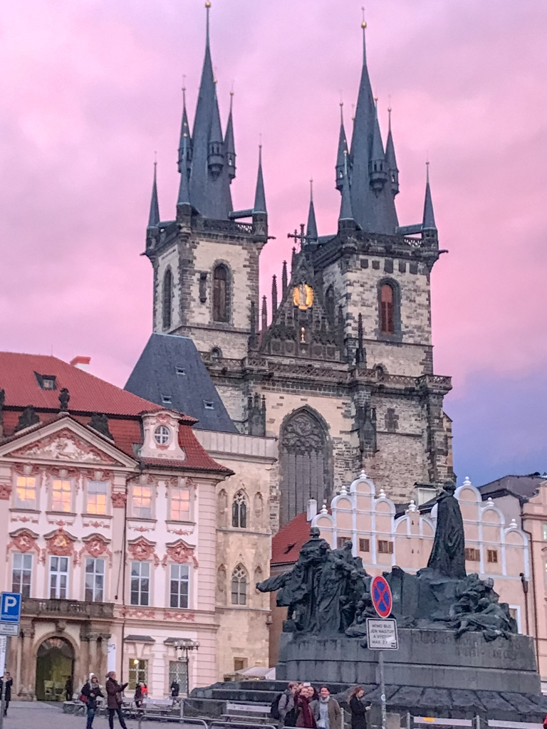 Prague Sunset over old town square