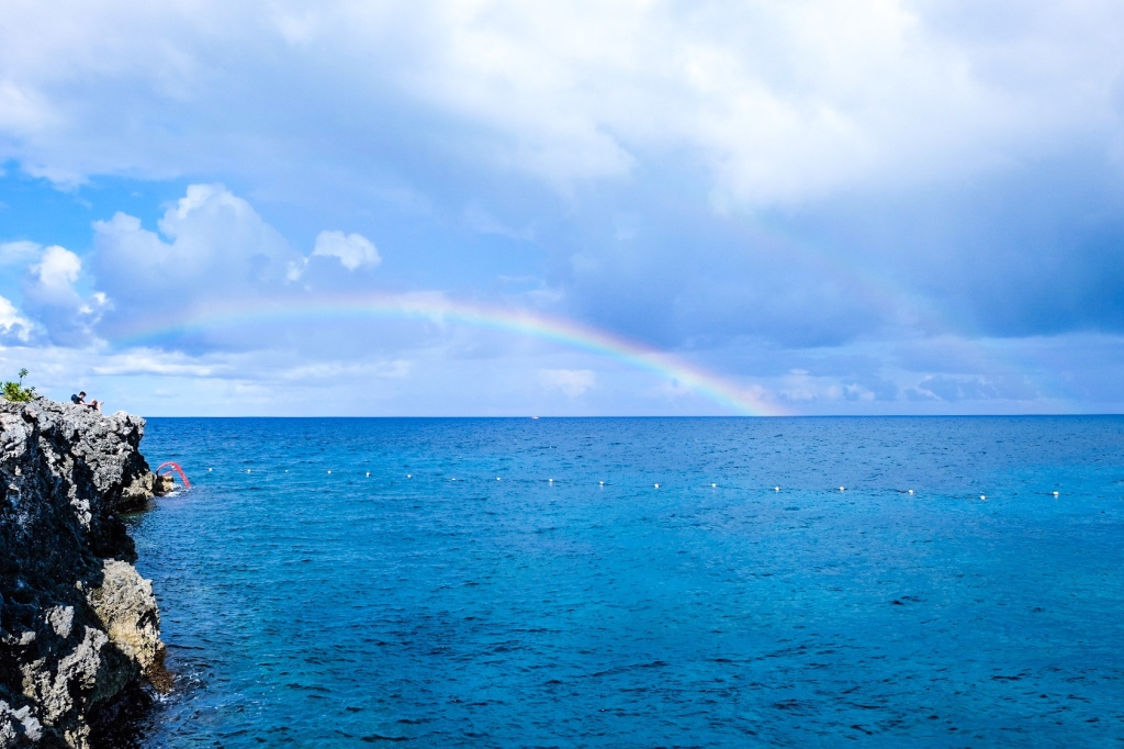 double rainbow over the ocean at the Rockhouse Hotel