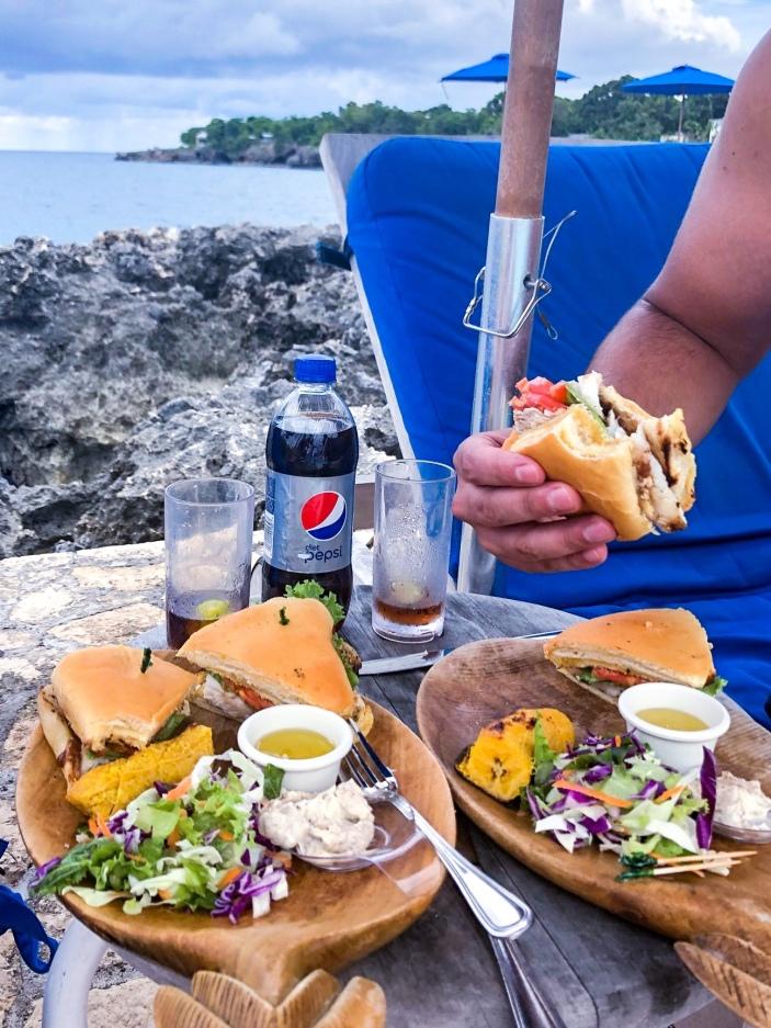 fresh fish sandwich at the Rockhouse Pool Bar